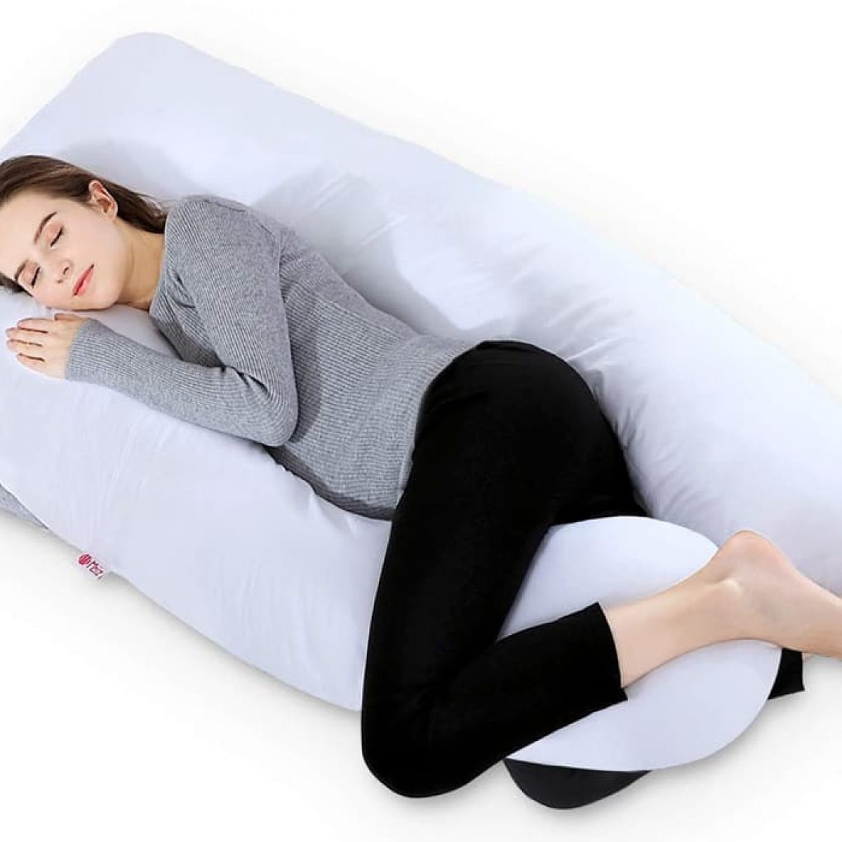 Puredown U Shaped Pregnancy Bed Pillow Maternity Full Body Support Pillow Blue