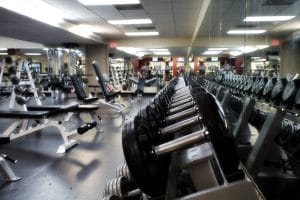 Side View of Weights At a Gym